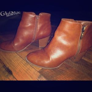 Brown/Tan Leather Ankle Booties with Zipper